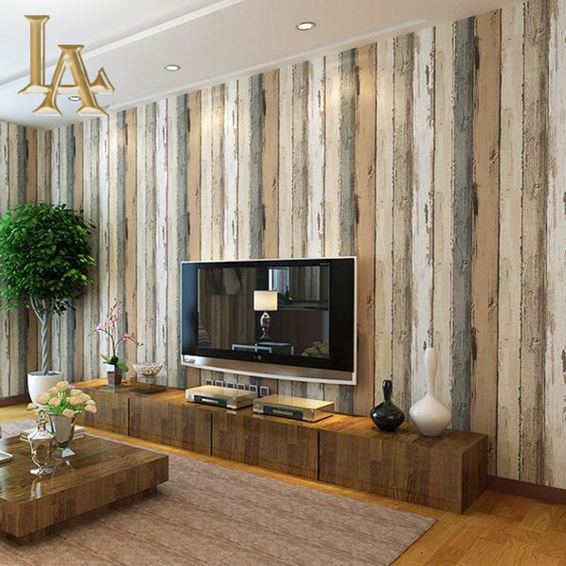 Mediterranean vintage 3d textured wood striped wallpaper for Striped wallpaper bedroom designs