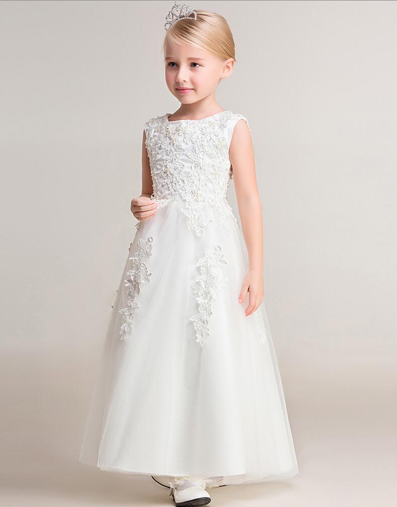 ФОТО 2016 Brand New Flower Girl Dresses White Real Party Pageant Communion Dress Little Girls Kids/Children Dress for Wedding
