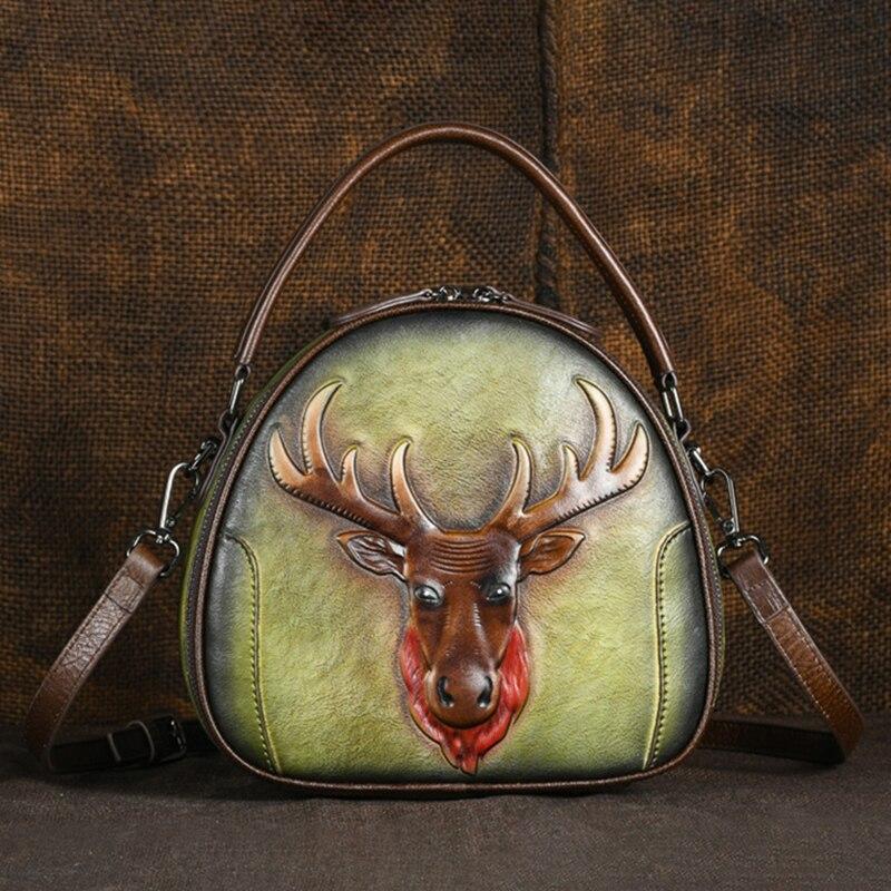 高品質女性ショルダーメッセンジャートートバッグレトロ鹿柄クロスボディ女性の小さな円形のトップハンドル本革バッグ  グループ上の スーツケース & バッグ からの トップハンドルバッグ の中 1