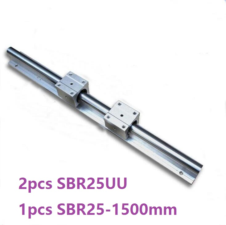 1pcs SBR25 - 1500mm linear guide support rail + 2pcs SBR25UU linear bearing blocks cnc router прогулочные коляски bebetto aro rainbow