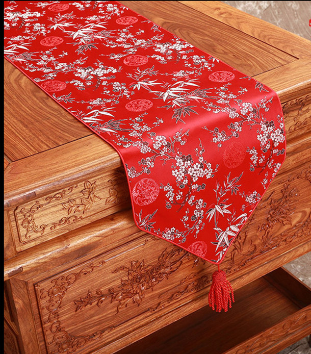 Elegant Plum Bamboo Table Runners High Quality Chinese
