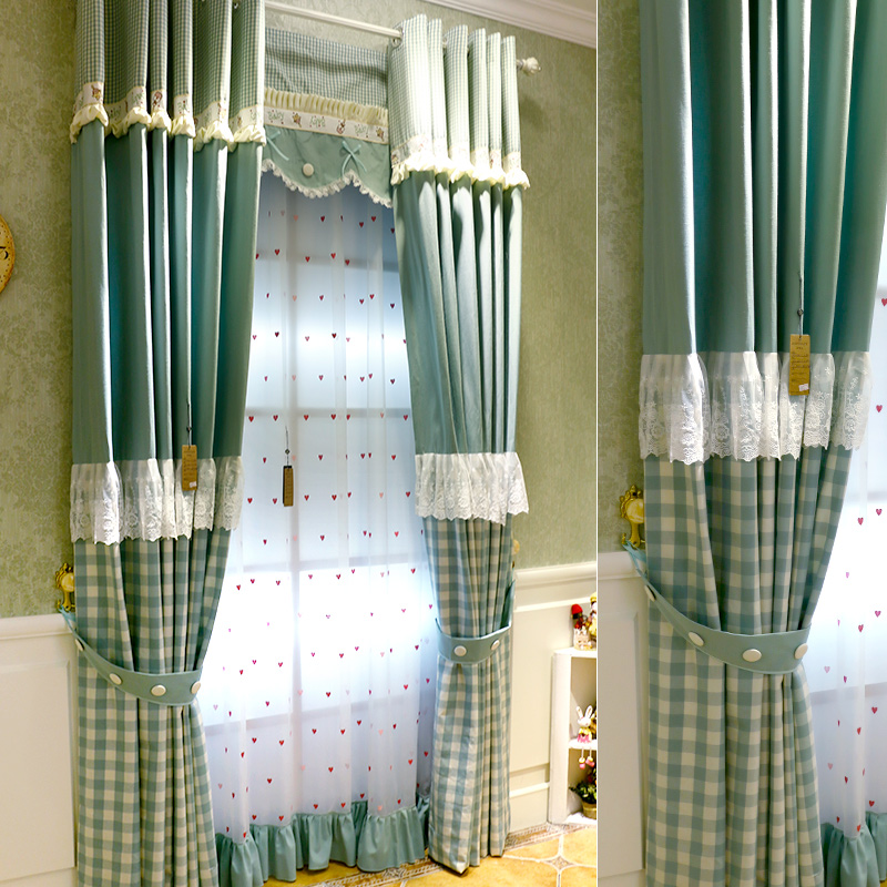 Customize Green Checks Lace Edge Curtains Rural Grid Princess Style Curtain Living Room Bedroom Window Treatments Tulle Curtain window valance