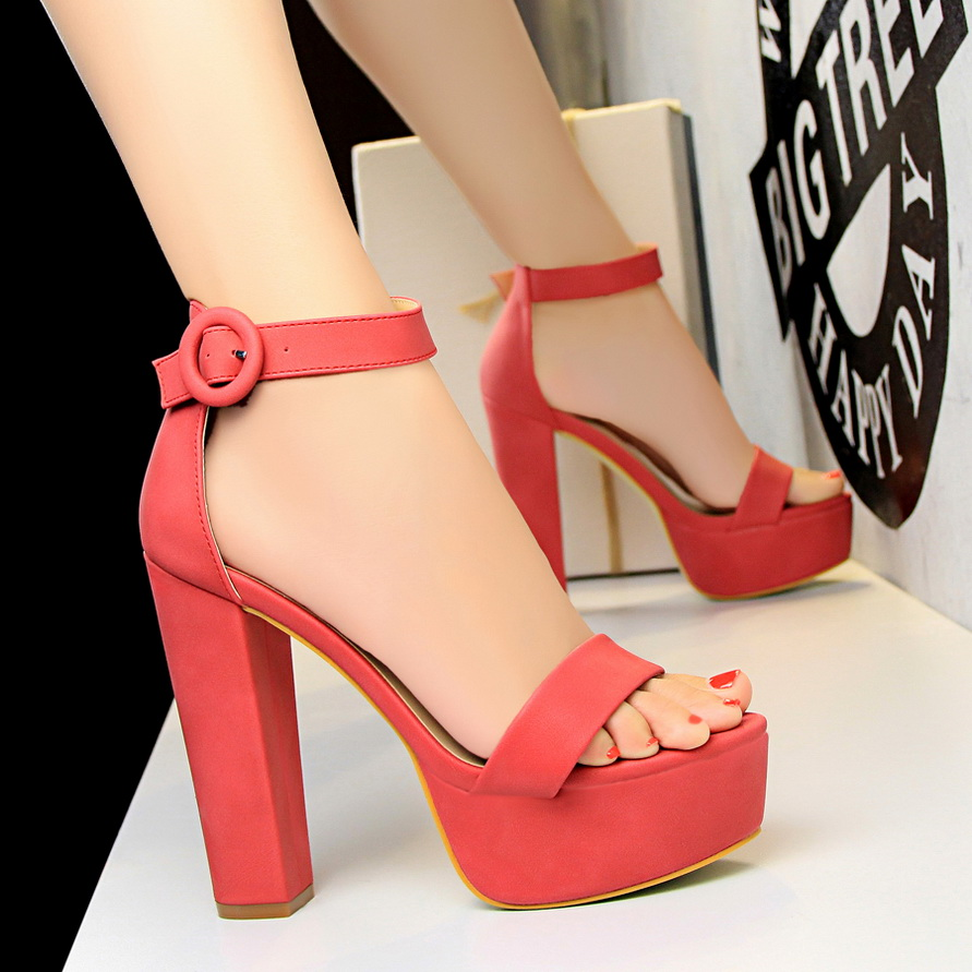 Women  13cm High Heels  Suede Platform Sandals Female Chunky Summer Shoes Lady Nude Sexy Khaki Red Pumps Party Sandals TH-23