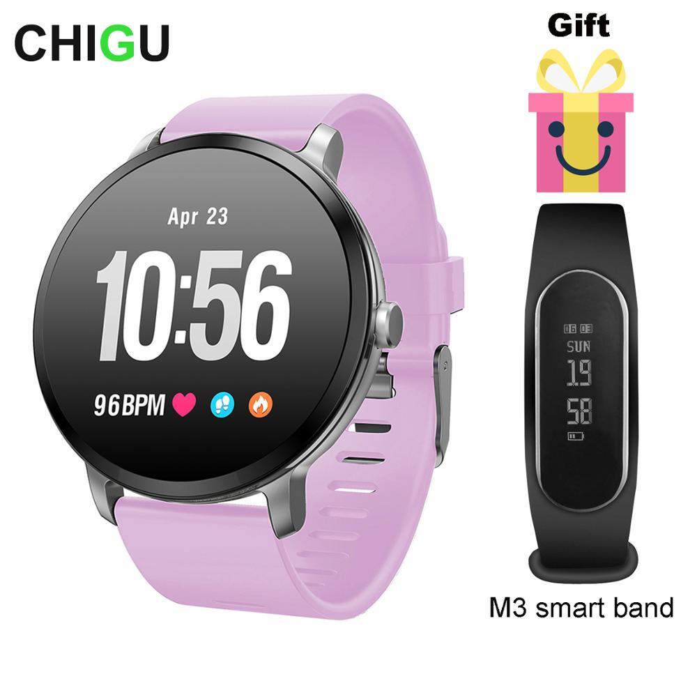 CHIGU V11 montre intelligente IP67 étanche verre trempé activité Fitness tracker moniteur de fréquence cardiaque hommes femmes smartwatch