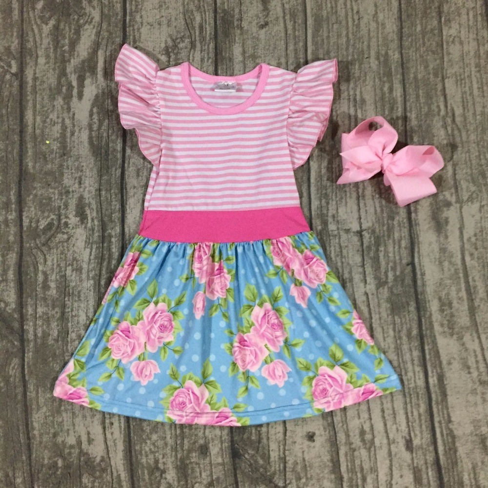 new summer cotton milk silk baby girls kids boutique clothes dress sets pink stripe blue floral  ruffles with match accessories baby kids baseball season clothes baby girls love baseball clothing girls summer boutique baseball outfits with accessories