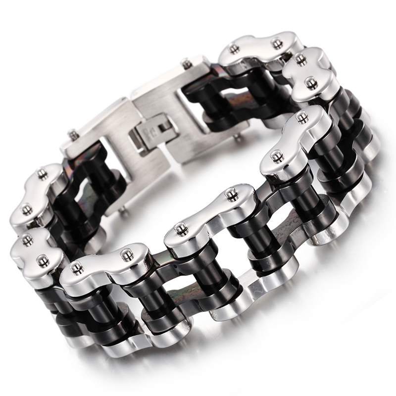 22mm 9 Inch Cool Men S Biker Motorcycle Chain Chunky Stainless Steel Bracelet Silver Black Jewelry 206g Heavyweight In Link Bracelets From