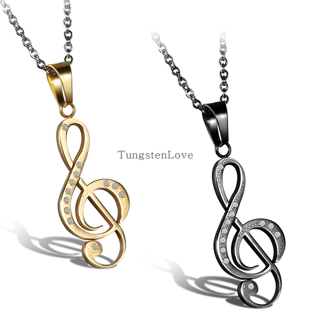 2015 New Gold & Black Stainless Steel G Treble Clef Necklace Music Note Pendant Necklace with Rhinestone Stones For Women Men