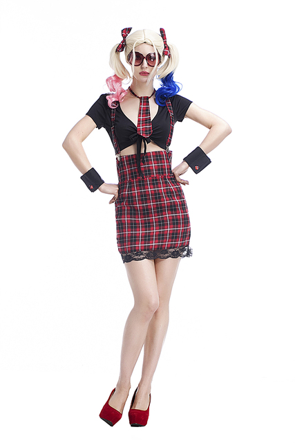 f55a2cd5a961 US $15.43 7% OFF|Schule Mädchen Studenten Plaid Kostüm Sexy Spitze Overalls  Shorts Club Party Phantasie Cosplay Hip Hop Outfit Für Frauen Plus ...