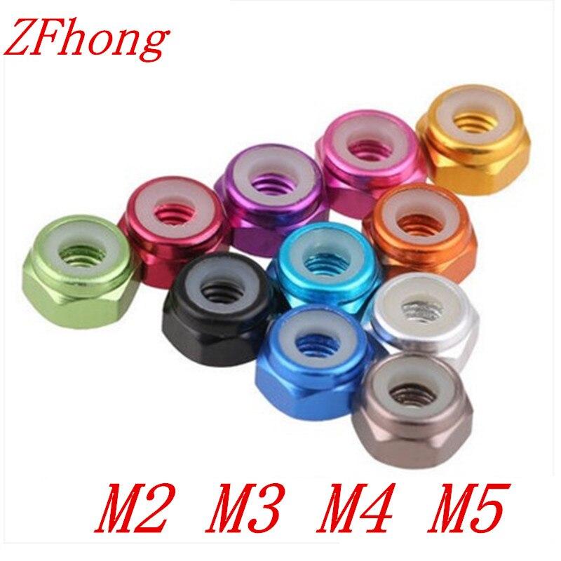 10 pces m2 m3 m4 m5 anodizado multi-cor colorido liga de alumínio porca de bloqueio de náilon