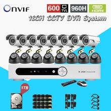 TEATE 16 Ch 600TVL IR À Prova de Intempéries de vídeo Vigilância CCTV Câmera Kit 16ch wi-fi Gravador DVR Sistema de Kit de disco rígido de 1 TB CK-215