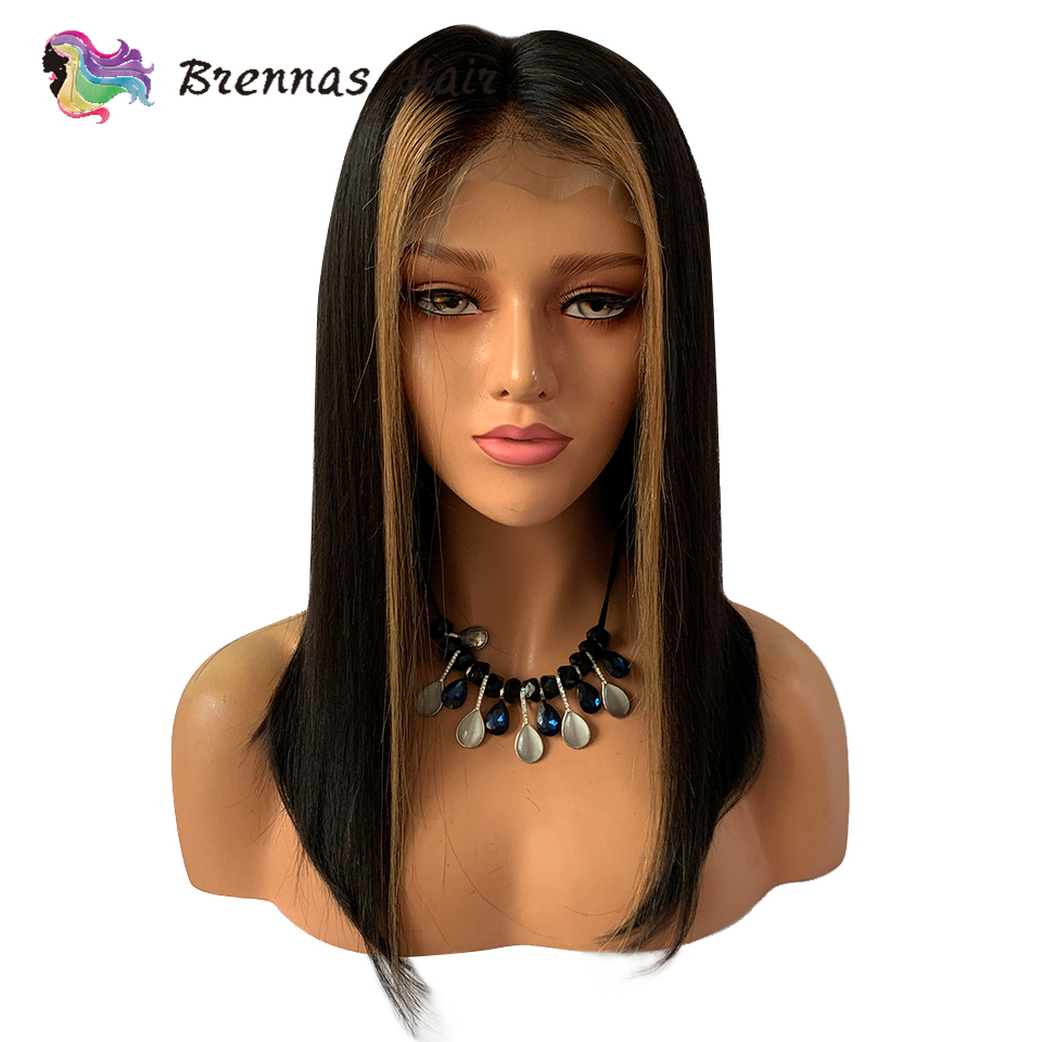 Ombre straight short bob lace front wig 27 honey blonde highlight with natural black color human