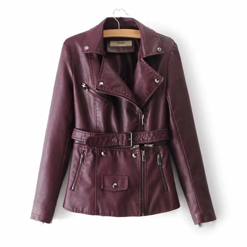 Fashion Casual Belt Zipper with Two Pu Jackets Coats Outerwear Separate   Leather   Outerwear European Station Women's PU   Leather