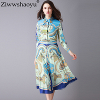 Ziwwshaoyu 2018 Summer Runway Suit Women Designer Long Sleeve Blouse And Floral Print Skirt Two Piece Sets Female