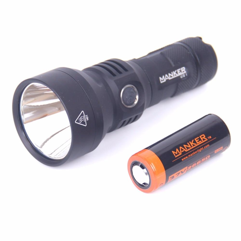 Manker U21 1300 Lumen Cree XPH35 HI LED Taschenlampe 700 Meter Werfer Taschenlampe + 5000 mAh 26650 Akku