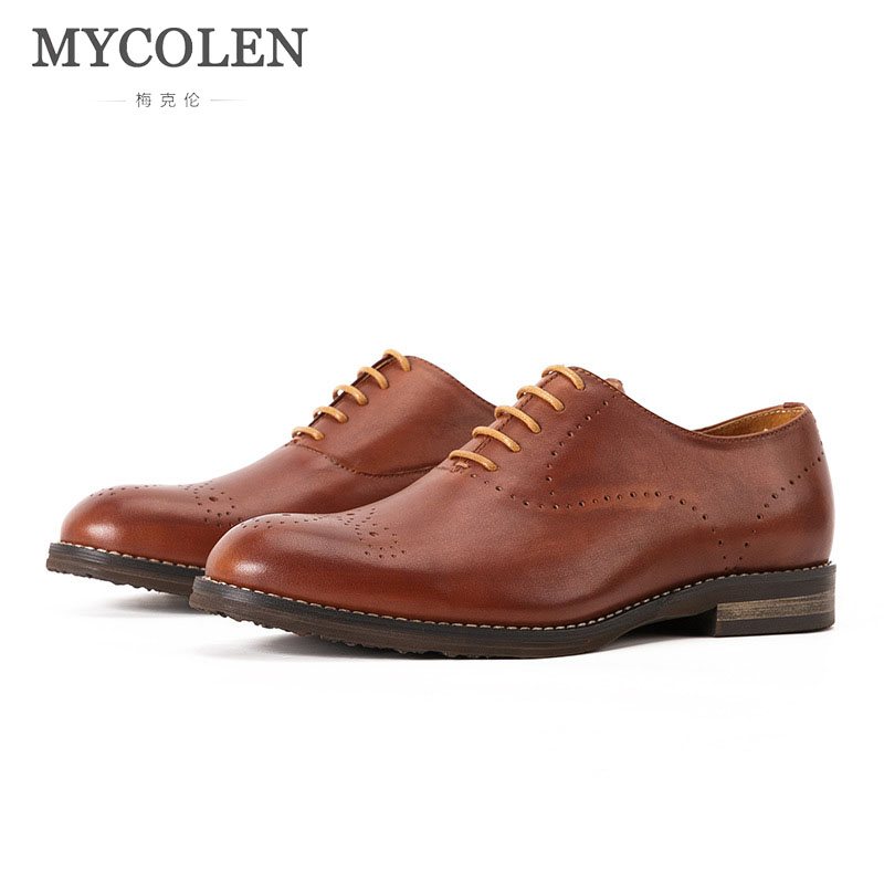 MYCOLEN Mens Handmade Dress Shoes Genuine Leather Men Shoes Lace Up Party Wedding Mens Oxfords Luxury brand Carved Shoes mycolen 2018 new fashion mens oxfords vintage dress shoes luxury brand comfort office man shoes for party sepatu pria