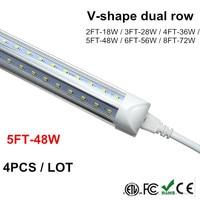 T8 5 Feet V Shaped 4ft 5ft 6ft 8ft 4800 Lumen Tube Integrated LED Tubes Light Replace Fluorescent Light AC85 265V
