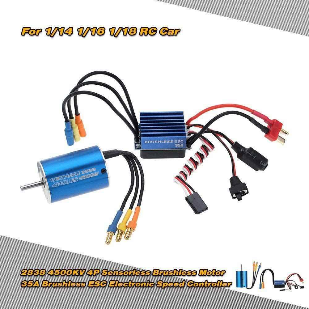 Las mejores ofertas 2838 4500KV 4 P Sensorless Motor sin escobillas y 35A sin escobillas ESC controlador de velocidad electrónico para 1/14 1/16 1/18 RC Coche