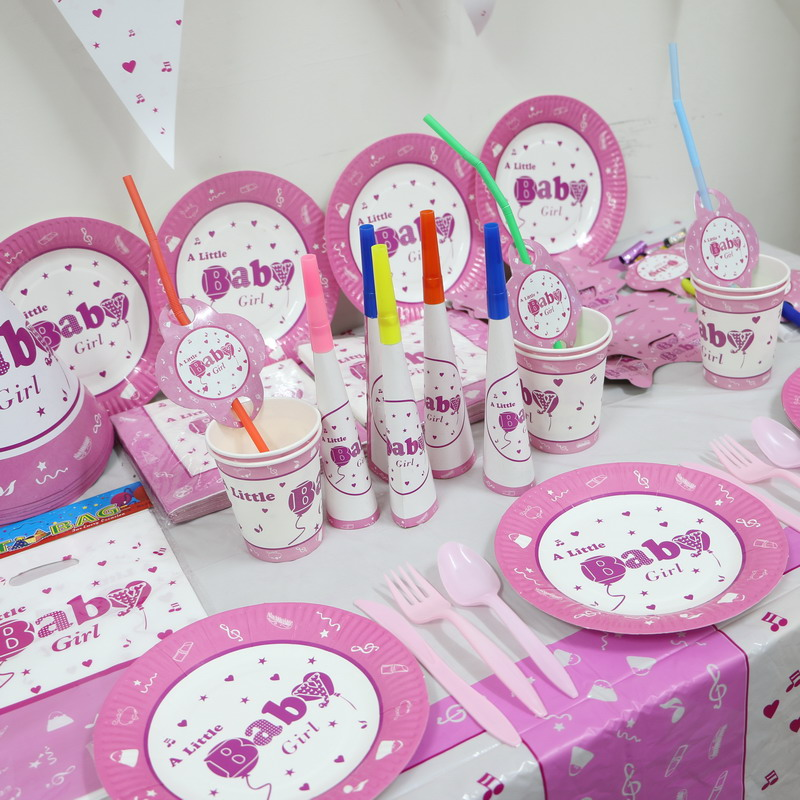 1pack 78pcs Wholesale Baby Girl 1st Birthday Theme Party Supplies Kids Decoration For 12 People Use