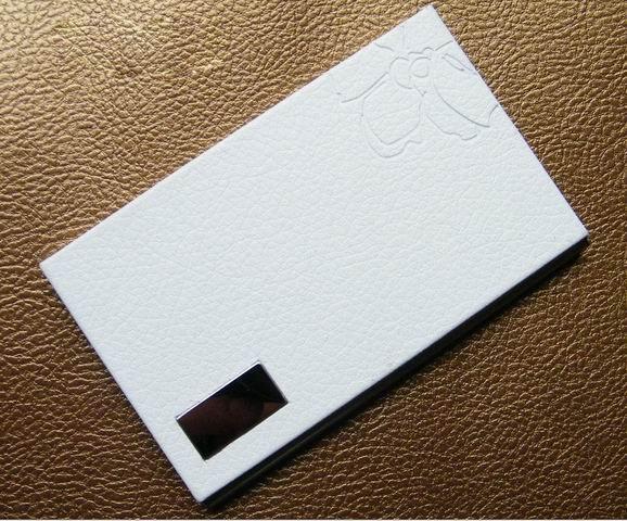 10 шт./партия,, нержавеющая сталь+ искусственная кожа, бедж, держатель для удостоверения личности, визитница, oem-изделия с логотипом заказчика NMS012 - Цвет: white
