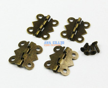 80 Pieces Antique Brass Jewelry Box Hinge Small Butterfly Hinge 90 Degree Folding 20x17mm with Screws
