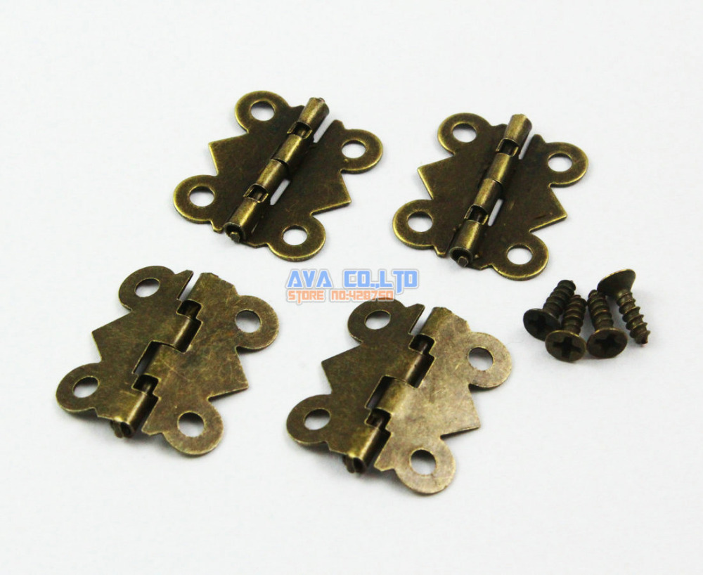 80 Pieces Antique Brass Jewelry Box Hinge Small Butterfly Hinge 90 Degree Folding 20x17mm with Screws 40 antique brass jewelry box hinge small hinge 25x24mm with screws