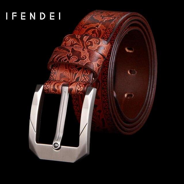 IFENDEI Cinturones Para Hombres Capa de la Cabeza De la Correa de Cuero Genuina de Negocios de lujo Pin Hebilla Cinturones Ceinture Cuero Negro Marrón Rojo Homme