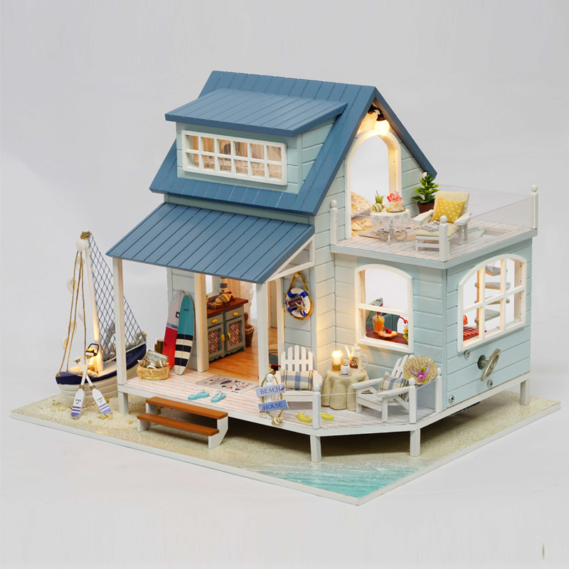 Us 80 53 Wooden Doll House Diy Miniature Dollhouse Furniture Handmade Toys Beach House For Dolls Educational Toys For Children Gifts In Doll Houses