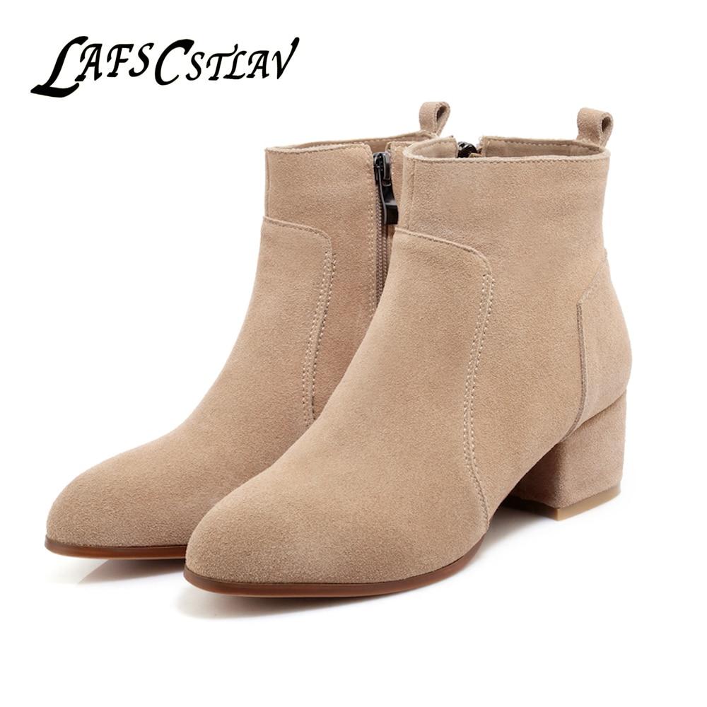 LAFS CSTLAV Prava usnje Krava Suede Chelsea škornji za ženske - Ženski čevlji