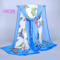 2014 new scarf summer pashmina women's scarf long shawl Butterfly printed cape Polyester chiffon tippet muffler echarpes Scarves