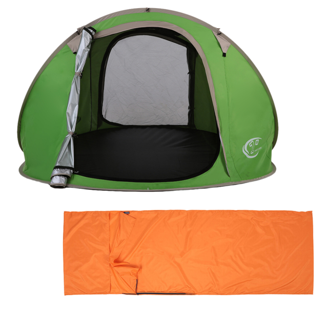 Outdoor Travel Camping Gear 70*210CM Polyester Sleeping Bag+Automatic Instant Pop Up Hiking Tent 240 *180*100cm  for 3-4 Persons