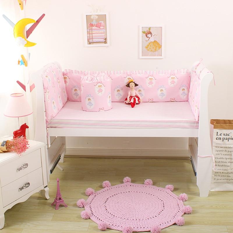5pcs Baby Boys Girls Bedding Set Cotton Baby Bed Linens Set Blue Crib Bedding Kit Include