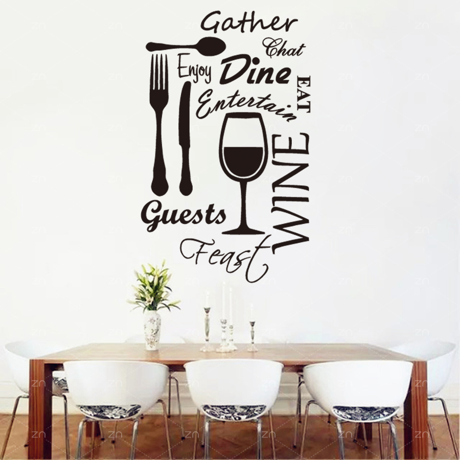 Décoration Murale Vinyle Us 8 99 25 Off B43 Kitchen Word Vinyl Wall Art Stickers Dining Food Wine Quotes Wall Decals Restaurant Decoration Mural Home Decor In Wall Stickers