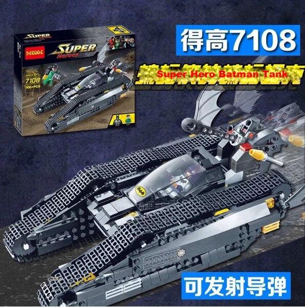 ФОТО 506Pcs Decool 7108 The Bat Tanks Compatible Lepin 7784 Super Heroes Batman Figures Building Blocks Toys For Children