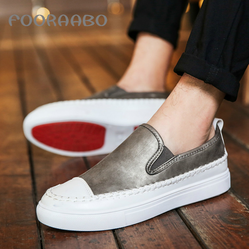 Fooraabo Luxury Leather Men Loafers Casual Shoes Moccasins Fashion Flats Mens Shoes 2017 Slip On Man Spring Chaussure Homme nightclub luxury fashion slip on embossed leather dress shoes flats big size men moccasins casual shoes mens loafers espadrilles