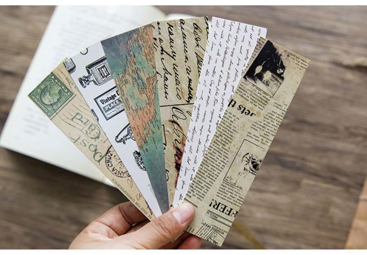 Купить с кэшбэком 30PCS/Pack Retro Letter Bookmark Paper Bookmarks Vintage Page Marker Stationery School Office Supplies Escolar Papeleria sl1142