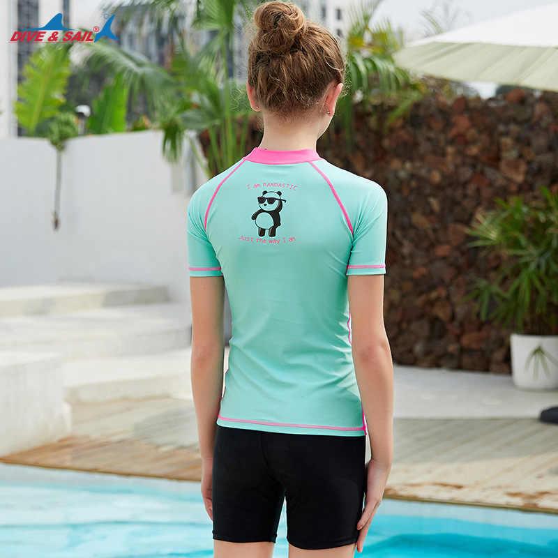 Dalış Yelken Yaz Takım Elbise Kısa kollu Döküntü guard UPF 50 + Triatlon T-shirt Plaj Yüzme Sörf Dalış Mayo hızlı kuru Spor