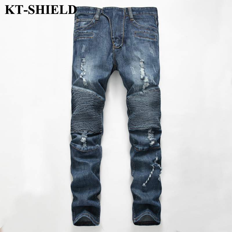 Mne Biker Jeans Straight Slim fit Denim Jeans Trousers Plus Size Cotton Brand Hole Pants Mannen Vaqueros Motorcycle Ripped Jeans plus size ripped straight leg biker jeans