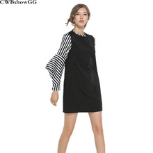 CWBshowGG deusa Verão moda listrada manga flare preto e branco fino de manga  comprida soltas casual mulheres Mini vestido elegan. 91342565cb3