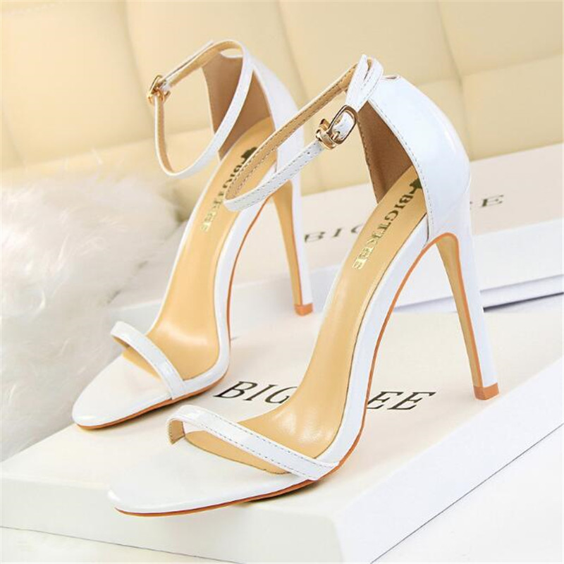 New fashion ultra high with patent leather open toe word belt sandals summer sexy nightclub women 39 s high heels in High Heels from Shoes