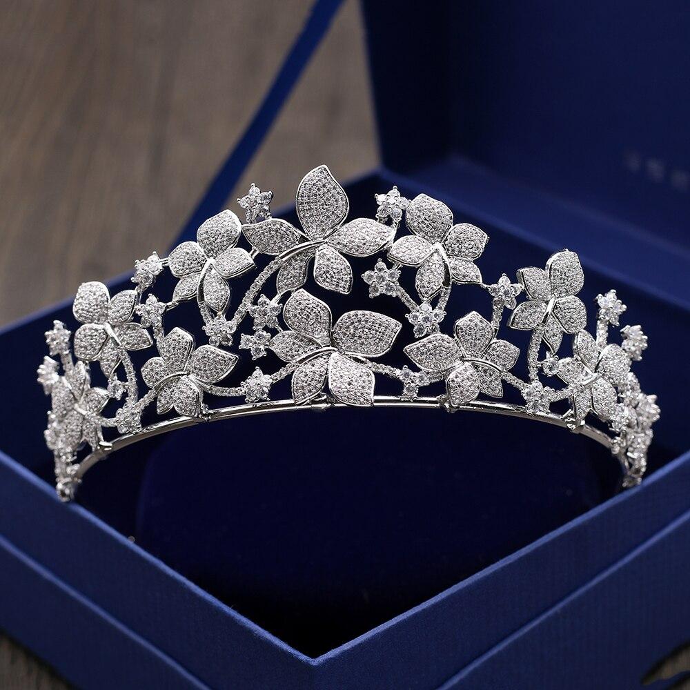 Luxurious Micro Inlays Zircon Tiara Crown Cubic Zirconia Flower Headband Hair Ornament Wedding Brides Headpiece Princess Coronet цена 2017