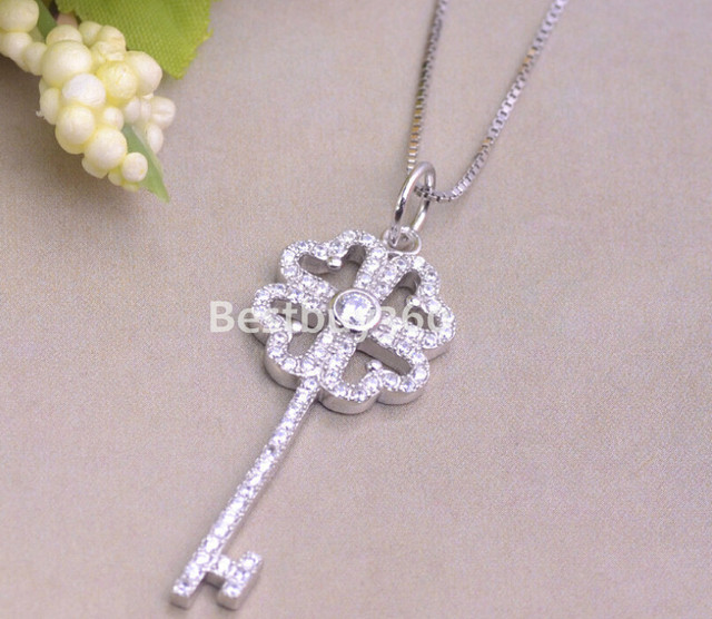 Brand new 925 sterling silver key pendant heart shape female fashion jewelry