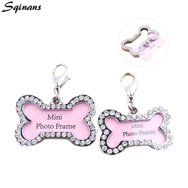 Sqinans 1pc Pet ID Tags Mini Bone Shape Dog Cat ID Tags Anti-lost Address Name Card Diamond Pendant For Dog Collar