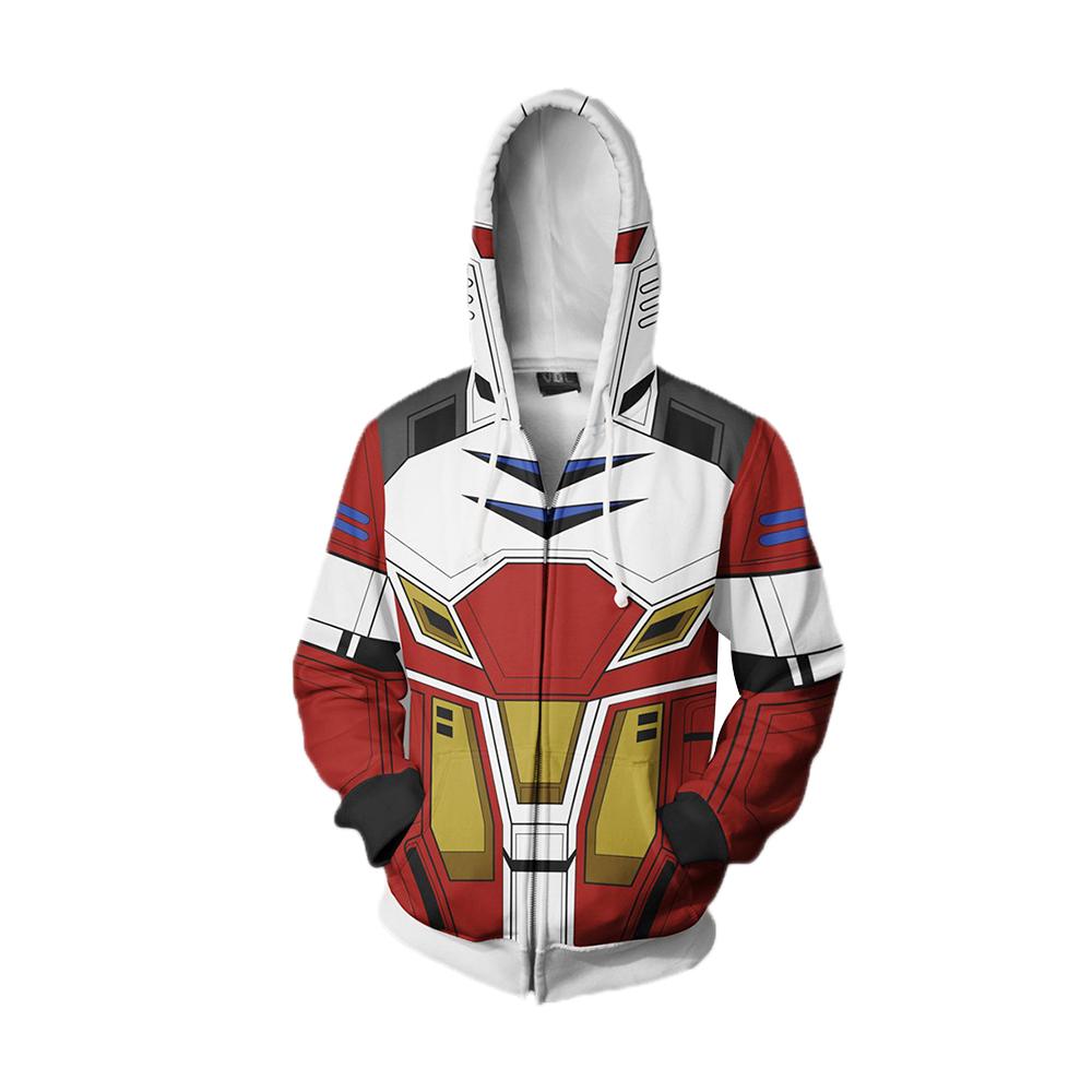Anime Gundam Cosplay Hoodie 3D Printed Hooded Sweatshirt Zipper Autumn Winter Men Women Warm Coat Pullover Jacket