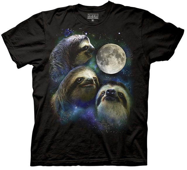 Luna de tres Lobos Camisa Parodia-Tres Pereza Luna Camisa 100% Algodón Camiseta de La Camiseta