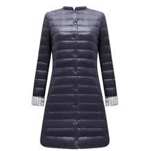 FTLZZ Ultra Licht Ente Unten Lange Jacke Frauen Frühling Padded Warme Mantel Weiblichen Jacken Mantel Winter Mantel Tragbare Parkas
