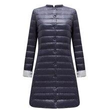 FTLZZ Ultra Light Duck Down Long Jacket Women Spring Padded Warm Coat Female Jackets Overcoat Winter Coat Portable Parkas