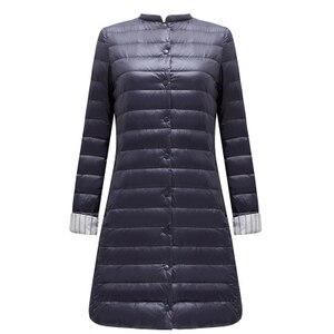 Image 1 - Ftlzz 울트라 라이트 오리 롱 자켓 여성 스프링 패딩 웜 코트 여성 자켓 오버 코트 겨울 코트 휴대용 파커
