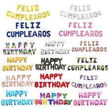 FELIZ cumpleaños письмо воздушный шар из фольги Испания Happy birthday Алфавит шар День рождения украшения детей Baby Shower шарики