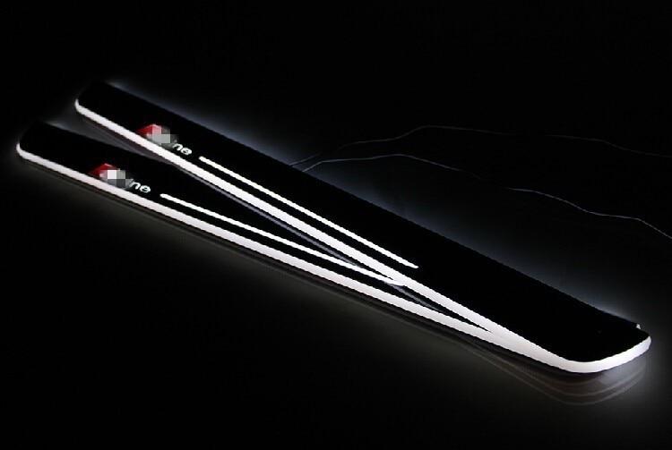 EOsuns Acrílico LEVOU movendo porta scuff placa porta luz peitoril para audi A3/S3 A5 A1 A5/S5/RS5 C7 A6L A7/S7/RS7 Q5 Q3 Q7, logotipo Sline