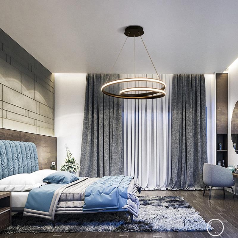Créatif moderne rond pendentif LED lumières réglable hauteur suspension lampe salle à manger restaurant salon pendentif luminaires